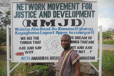Denis Ngotho Lansana, Project Manager from Network Movement for Justice and Development in Kenema, Sierra Leone.